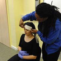 Danielle demonstrating during a First Aid at Work course