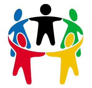 Graphic representing a group of people holding hands in a circle