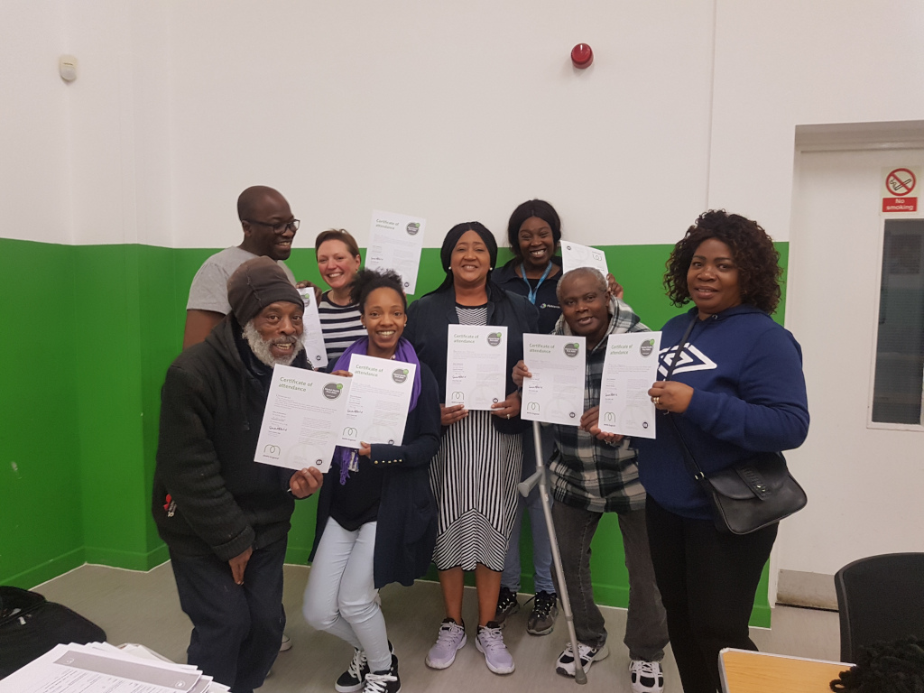 Mental Health First Aid training delegates with their certificates