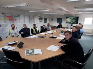 Danielle with employees of Wates Construction, delivering Mental Health first aid training